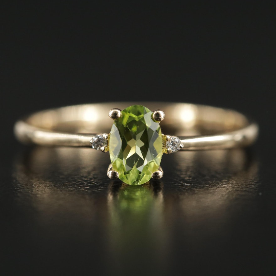 14K Gold Peridot and Diamond Ring