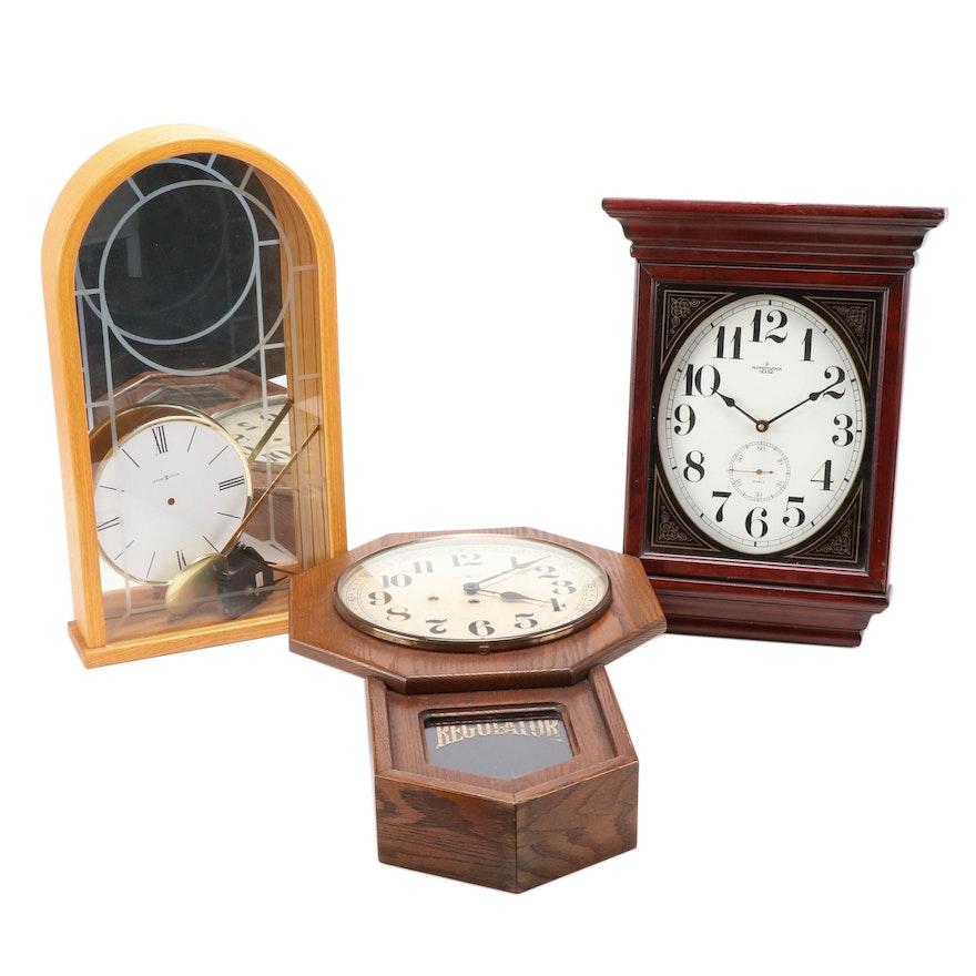Howard Miller Oak Regulator and Shelf Clocks with Pennsylvania House Wall Clock
