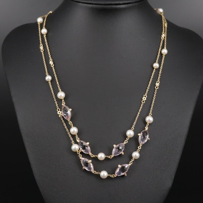 Iridesse by Tiffany & Co. 18K Pearl, Amethyst, Diamond Station Necklace