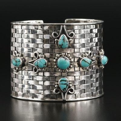 Southwestern Sterling Silver Turquoise Basket Weave Cuff Bracelet