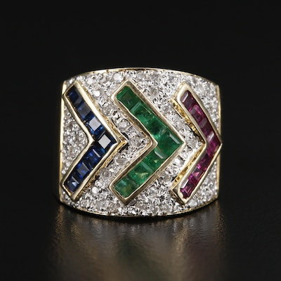 14K Gold Emerald, Sapphire, Ruby and Diamond Arrow Motif Ring