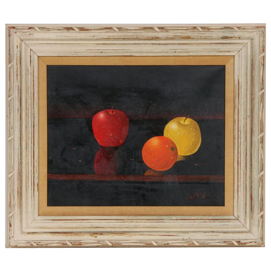 Still Life of Fruit Oil Painting, Mid to Late 20th Century