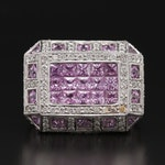18K White Gold Pink Sapphire and 1.00 CTW Diamond Ring with Milgrain Detail