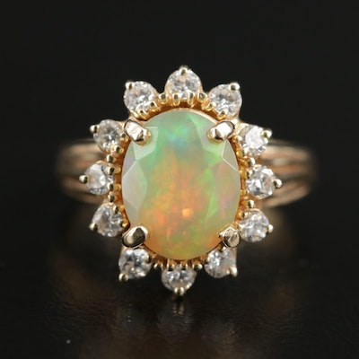 14K Gold Opal and Diamond Halo Ring