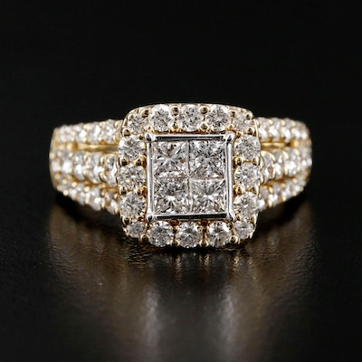 14K Yellow Gold 2.14 CTW Diamond Ring