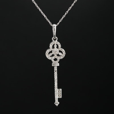 14K Diamond Key Pendant on Singapore Necklace