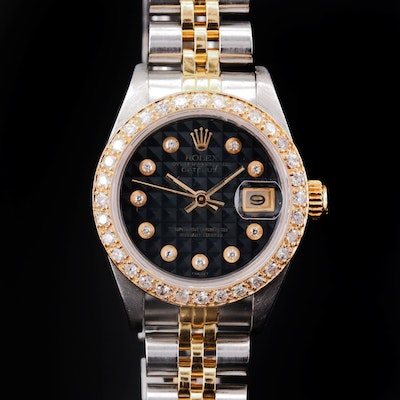 Rolex Date 18K Gold and Stainless Steel Watch with Diamond Dial and 14K Bezel