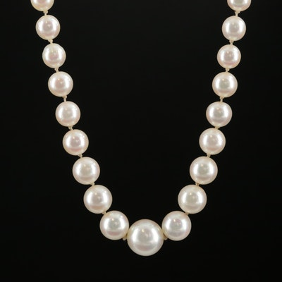 Graduated Cultured Pearl Strand Necklace with 14K White Gold Clasp