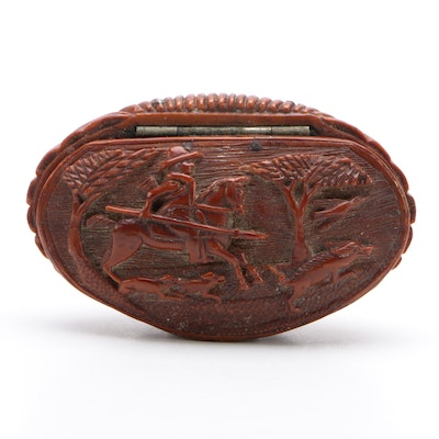Hand-Carved Hunting Scene Coquilla Snuff Box, Late 18th/ Early 19th