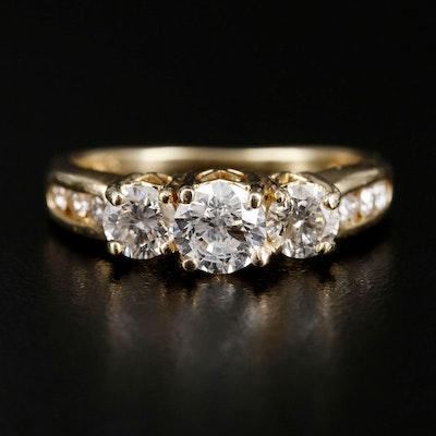 "14K Yellow Gold 1.32 CTW Diamond ""Past, Present, Future"" Ring"