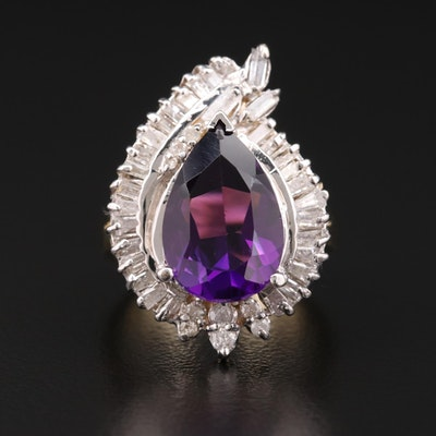 14K Gold Amethyst and 1.08 CTW Diamond Ring