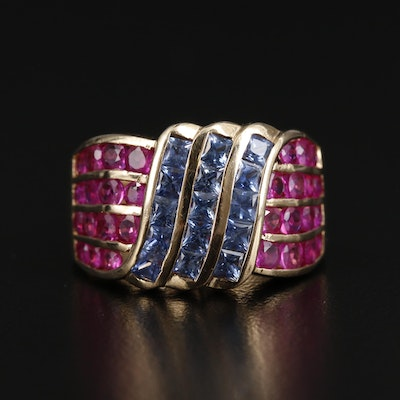 14K Gold Sapphire and Ruby Channel Ring