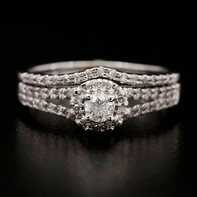 14K White Gold Diamond Ring with Shadow Band