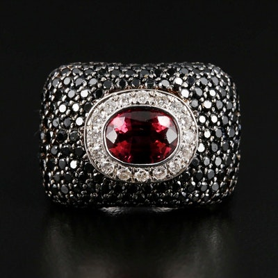 18K White Gold Pink Tourmaline and 2.49 CTW Diamond Statement Ring