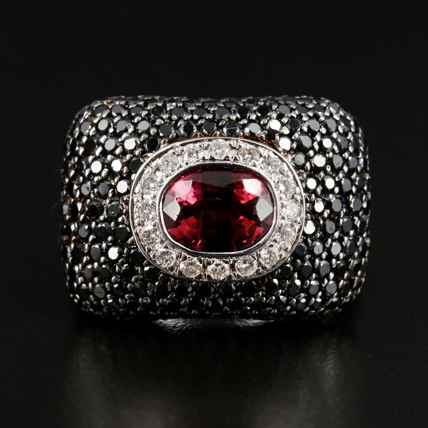 18K White Gold Pink Tourmaline and 2.49 CTW Diamond Statement Ring