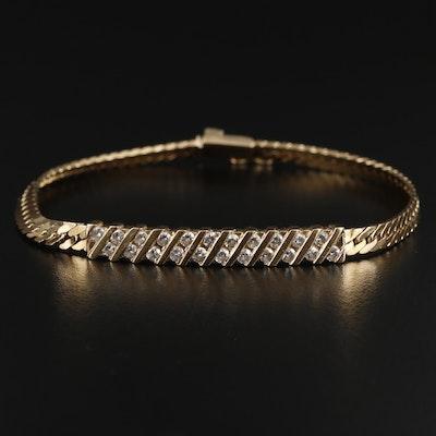 14K Yellow Gold 0.93 CTW Diamond Herringbone Chain Bracelet