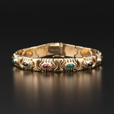 14K Yellow Gold Sapphire, Chalcedony and Garnet Bracelet