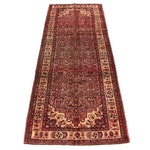 3'9 x 10'3 Hand-Knotted Persian Zanjan Wide Runner, 1970s