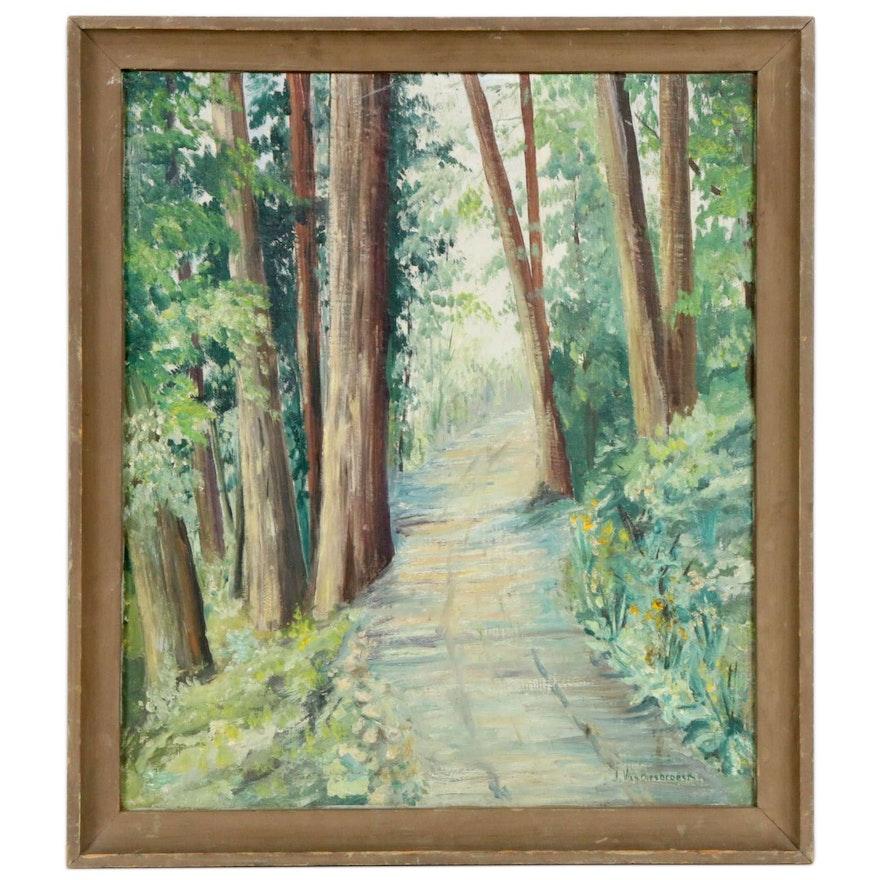 Jules Pierre Van Biesbroeck Forest Path Landscape Oil Painting, Mid-20th Century