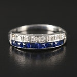 Art Deco 14K Gold Diamond and Synthetic Sapphire Band