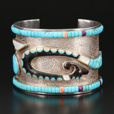 Southwestern Sterling Horned Serpent Cobblestone Inlay Gemstone Cuff