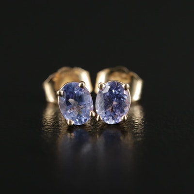 14K Gold Tanzanite Stud Earrings