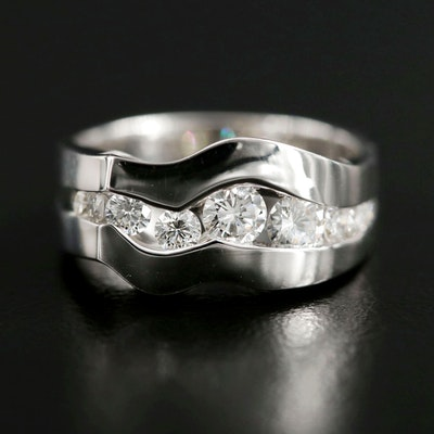 18K White Gold Diamond Wave Ring