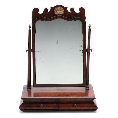George II Style Walnut Toilet Mirror, 19th Century