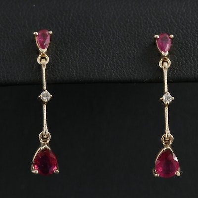 14K Yellow Gold Ruby and Diamond Dangle Earrings