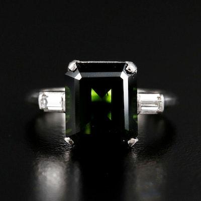 Platinum Tourmaline and Diamond Ring