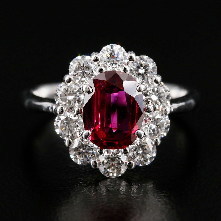 Platinum 1.31 CT Thai Ruby Ring with 1.31 CTW Diamond Halo and GIA Report