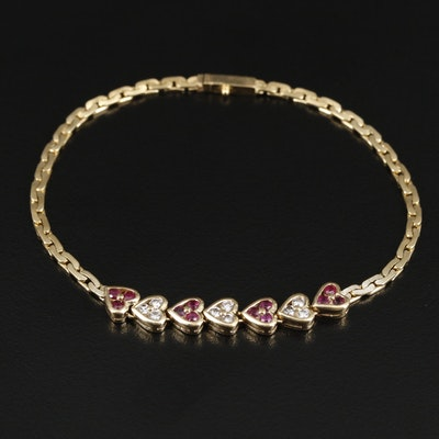18K Yellow Gold Diamond and Ruby Heart Bracelet