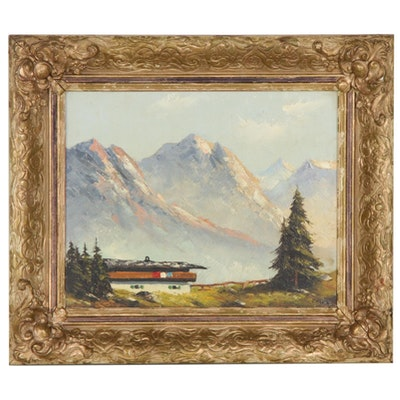 Alpine Landscape Oil Painting, Early to Mid-20th Century