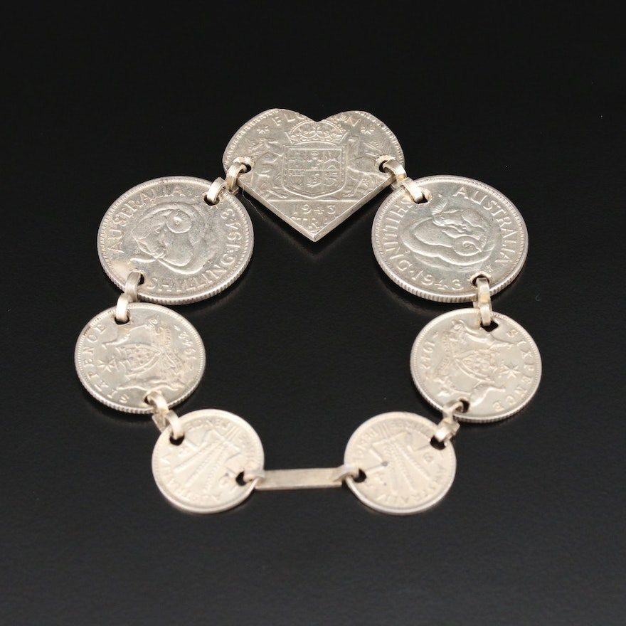 Bracelet with 1942, 1943 Australian Silver Coins: Threepence, Sixpence, Shilling