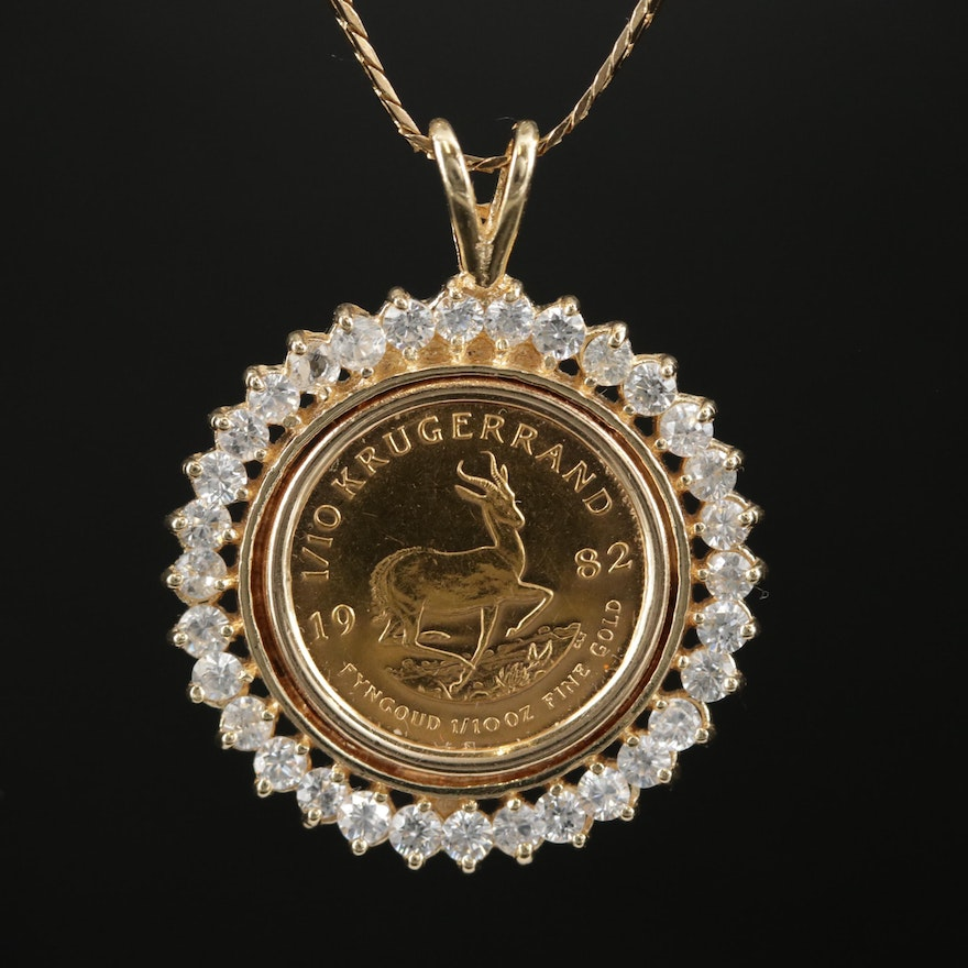 14K Gold Cubic Zirconia Necklace with 1928 South African Krugerrand Coin