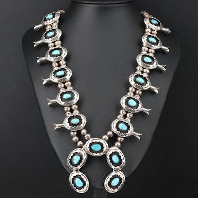 Signed Wilton Carviso Jr Navajo Diné Turquoise Squash Blossom Necklace