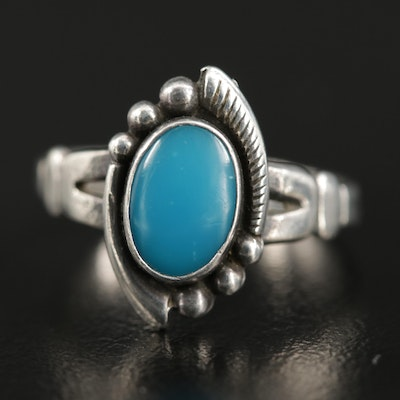 Southwestern Bell Trading Post Sterling Imitation Turquoise Ring