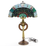 Double Arm Stained Glass Table Lamp