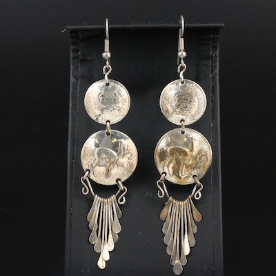 Dangle and Tassel Earrings with 1970s Peruvian 1/2-Sol de Oro Coins
