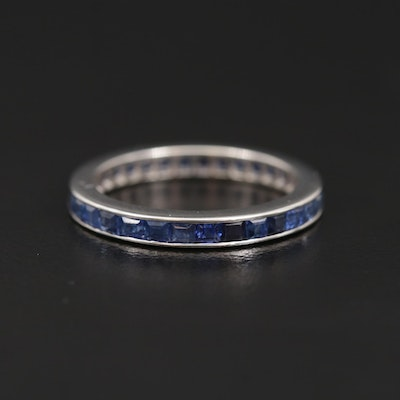 14K White Gold Blue Sapphire Eternity Band