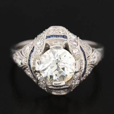 Edwardian Platinum 2.27 CTW Diamond and Sapphire Ring with GIA Report