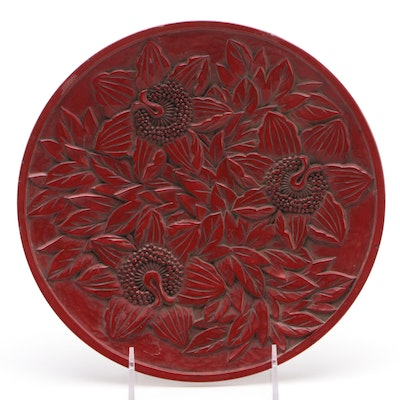 Antique Japanese Carved Lacquer Plate with Floral Motif