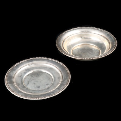Gorham Sterling Silver Sandwich Plate and Vegetable Bowl, Mid-20th Century