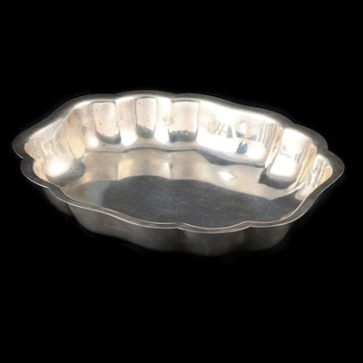 American Sterling Silver Scalloped Serving Bowl, Mid-20th Century