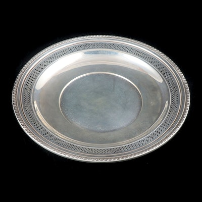 American Sterling Silver Pierced Dinner Plate, Mid-20th Century