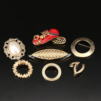 Assorted Jewelry Including Monet, Glass Paste, Enamel and Imitation Pearl
