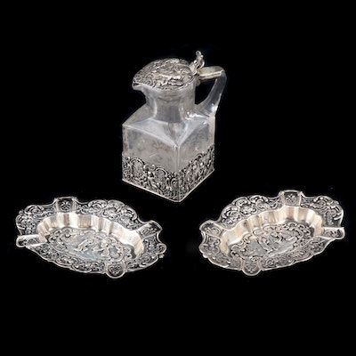 German Baroque Style 800 Silver Repoussé Ashtrays and Cruet Bottle