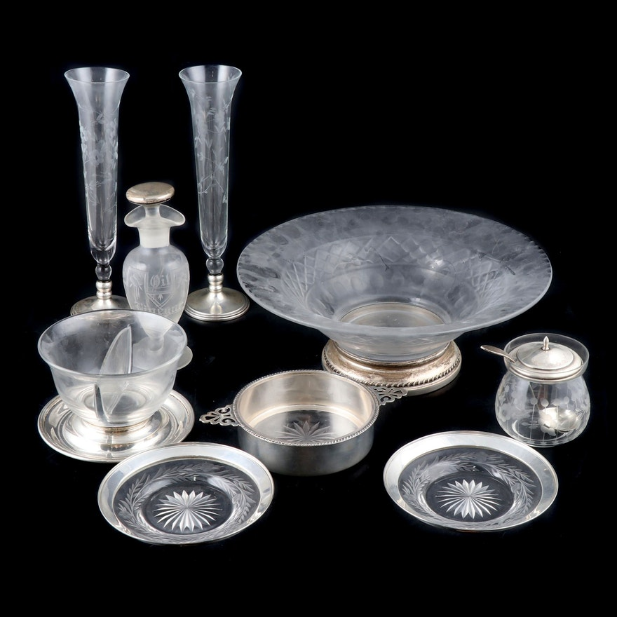 Weighted Sterling Silver and Glass Tableware, Mid-20th C.