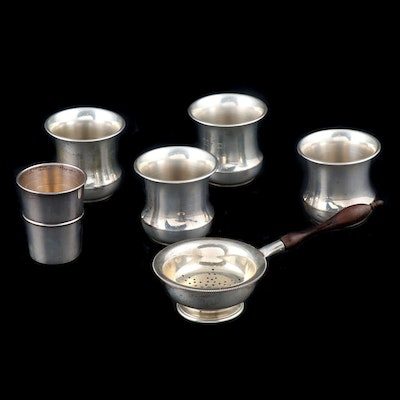 Sterling Silver Toothpick Holders, Tea Strainer and Reed & Barton Shot Glass