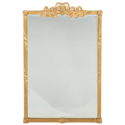 Carvers' Guild Louis XV Style Gold Tone Bow Top Wall Mirror, Late 20th Century